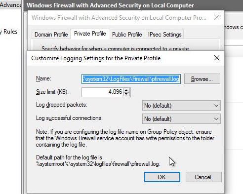 windows10 pare feu firewall log outbound connections