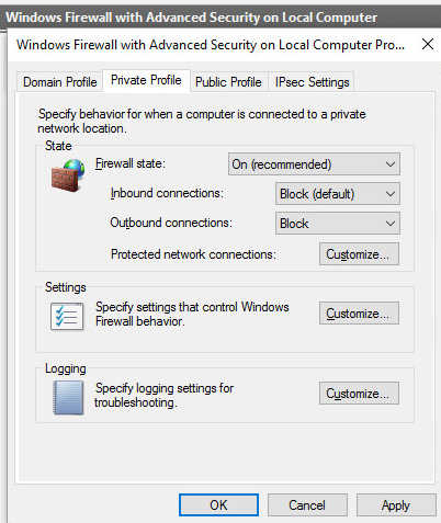 windows10 pare feu firewall outbound connection block