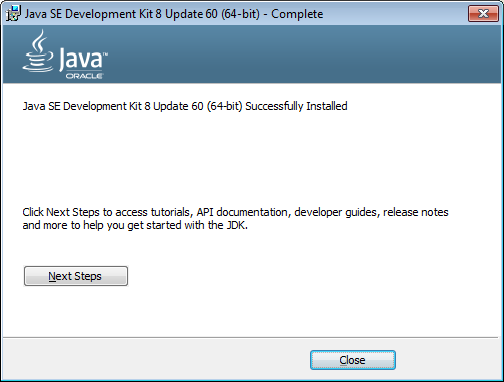 10Java SE Development Kit Update 60 64 bits Successfully installed