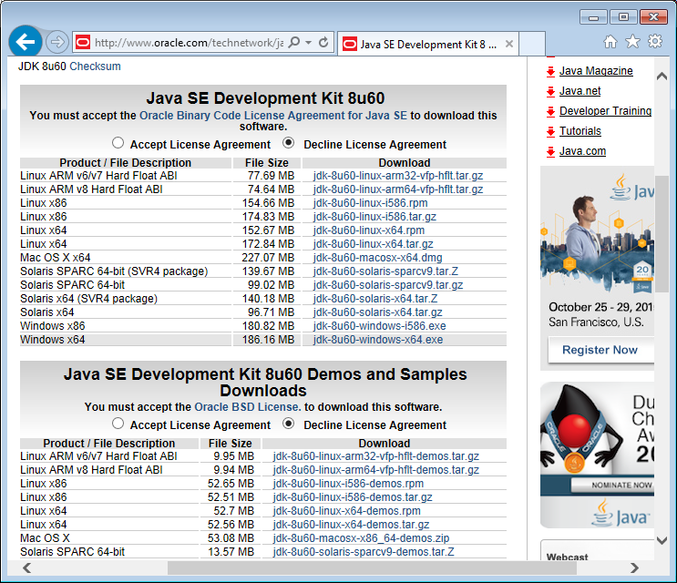 2JAvaSE Development Kit 8u60