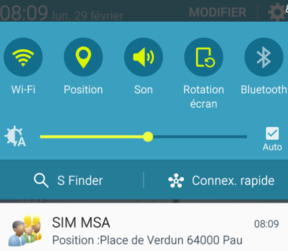 sim notification adresse precise