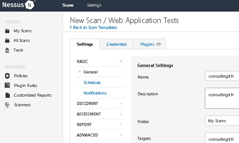 nessus test applications web audit test intrusion settings