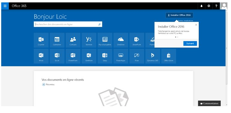 office 365 bienvenue