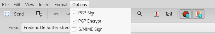 evolution options pgp sign encrypt