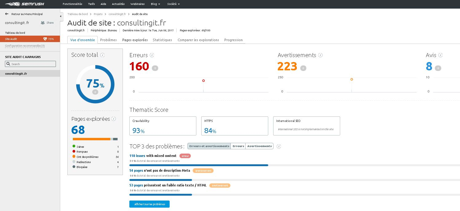 semrush atelier seo audit de site