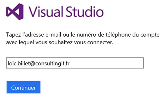 visual studio se connecter liveid